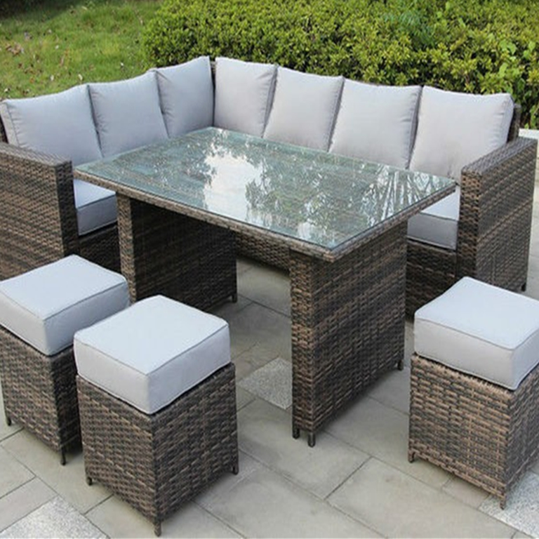 L-shaped Rattan Sofa Set